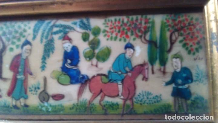 Arte: Antigua pintura miniatura oriental sobre marfil. Personajes en un jardín - Foto 5 - 114349655