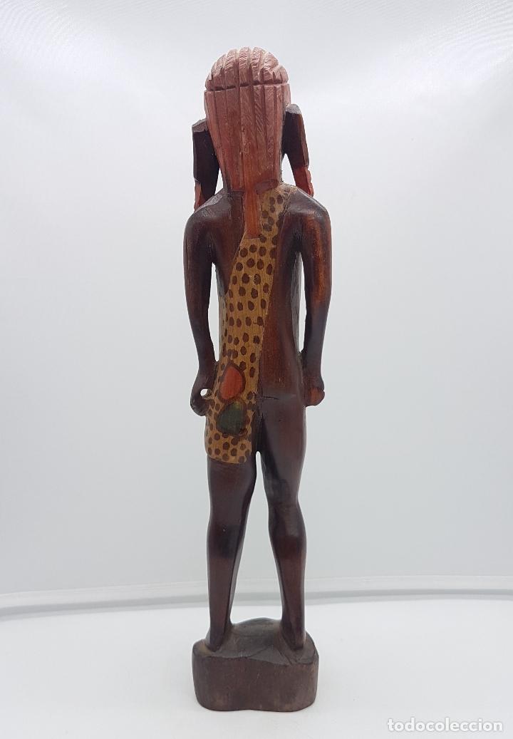 Arte: Antigua talla o escultura africana en madera tallada y policromada a mano por nativos Tuaregs . - Foto 3 - 117848018