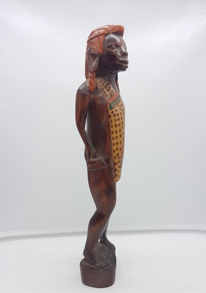 Arte: Antigua talla o escultura africana en madera tallada y policromada a mano por nativos Tuaregs . - Foto 4 - 117848018