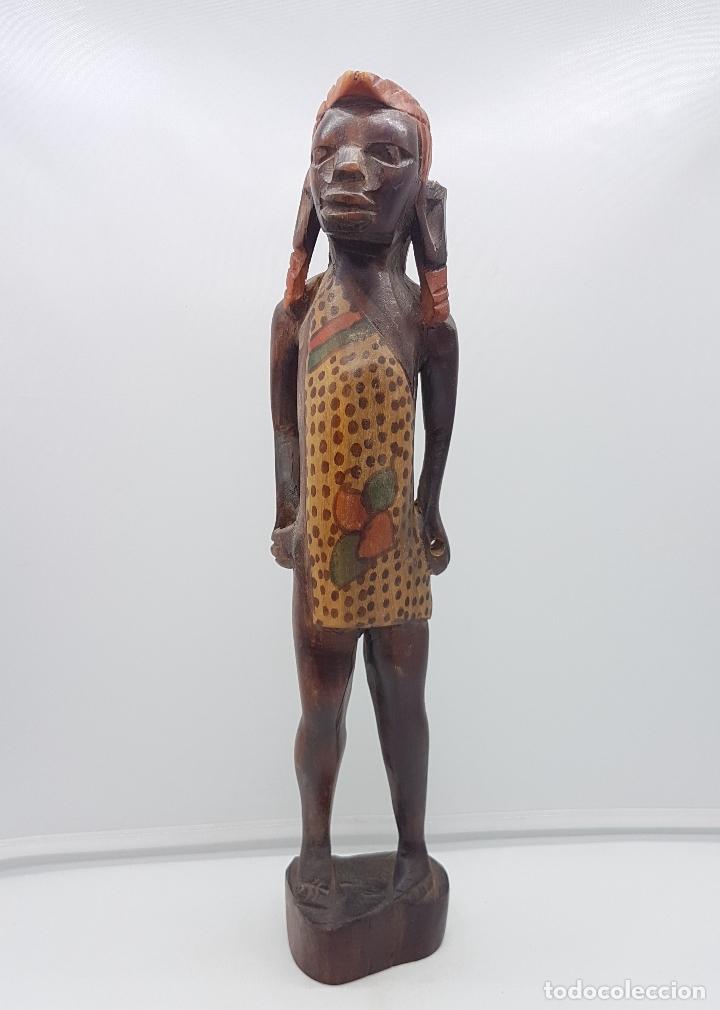 Arte: Antigua talla o escultura africana en madera tallada y policromada a mano por nativos Tuaregs . - Foto 5 - 117848018