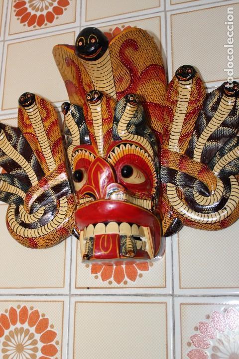 Arte: MASCARA MADERA DE INDONESIA BALI TAILANDIA REALIZADA A MANO 38 cm de altura dibujo serpientes - Foto 3 - 116458903