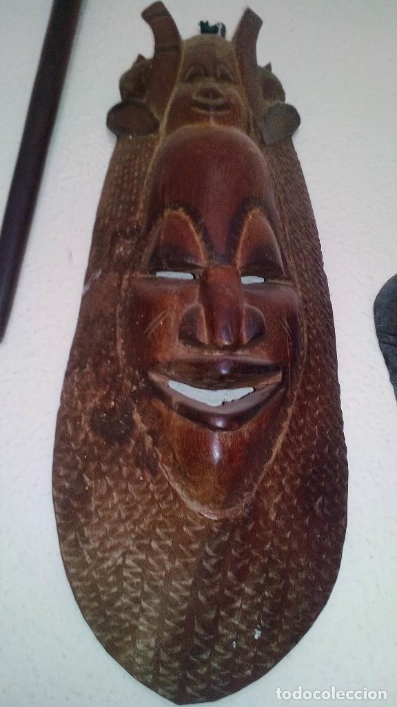 MASCARA MADERA APROX CM 53 LARGO, 18 ANCHO, 10 PROFUNDO PESO 1801 GRAMOS-18 FOTOS (Arte - Étnico - África)