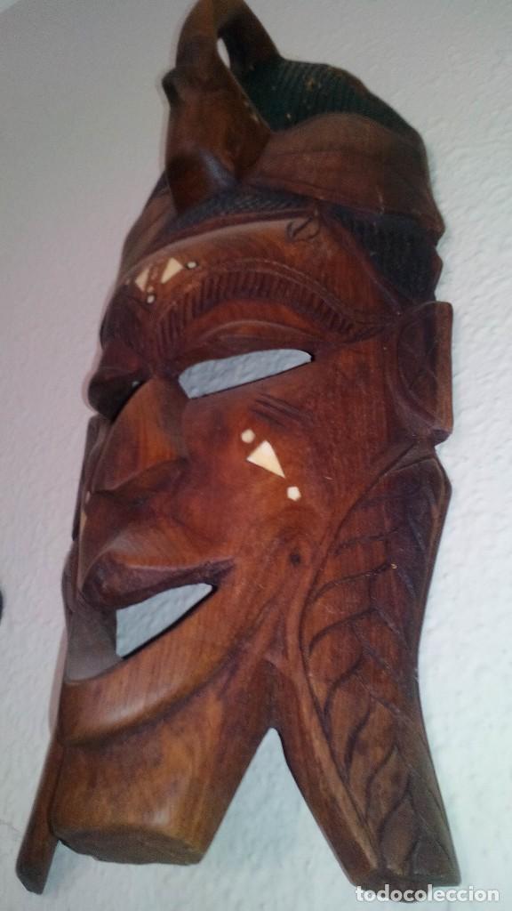 MASCARA MADERA APROX CM 44 LARGO, 17 ANCHO, 7 PROFUNDO PESO 1257 GRAMOS-14 FOTOS (Arte - Étnico - África)