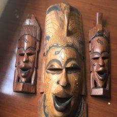 Arte: LOTE DE TRES MASCARAS AFRICANA TALLADAS A MANO. Lote 117554027