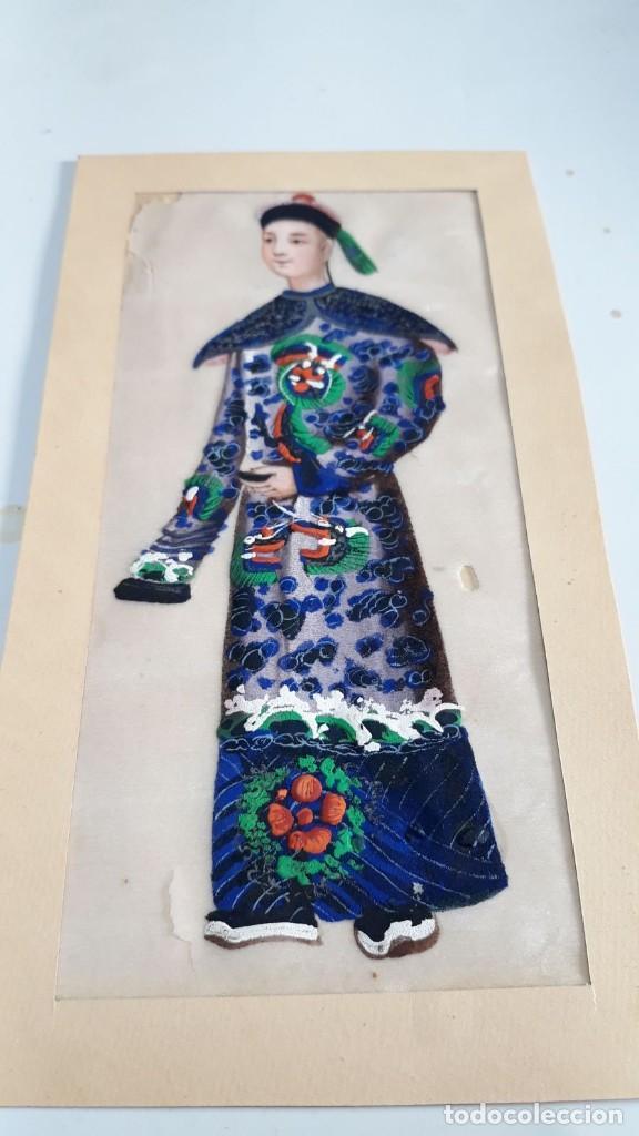 DIBUJO FIGURA MASCULINA TEMPERA O ACUARELA SOBRE PAPEL DE SEDA O ARROZ CHINA, ASIA SIGLO XIX (Arte - Étnico - Asia)