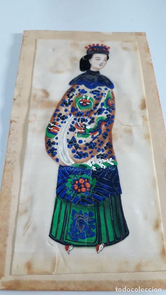 DIBUJO FIGURA FEMENINA TEMPERA O ACUARELA SOBRE PAPEL DE SEDA O ARROZ CHINA, ASIA SIGLO XIX (Arte - Étnico - Asia)