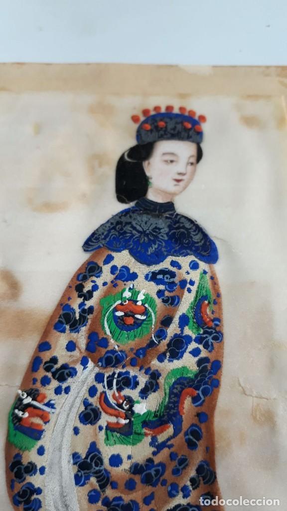 Arte: Dibujo figura femenina tempera o acuarela sobre papel de seda o arroz China, Asia siglo XIX - Foto 2 - 117799019