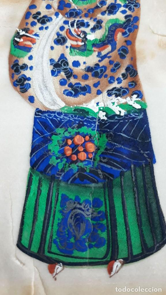 Arte: Dibujo figura femenina tempera o acuarela sobre papel de seda o arroz China, Asia siglo XIX - Foto 3 - 117799019