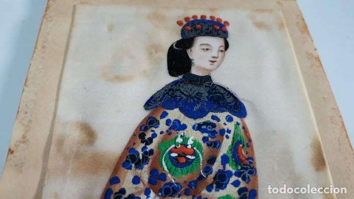 Arte: Dibujo figura femenina tempera o acuarela sobre papel de seda o arroz China, Asia siglo XIX - Foto 4 - 117799019