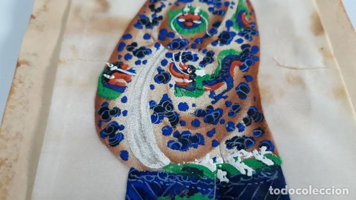 Arte: Dibujo figura femenina tempera o acuarela sobre papel de seda o arroz China, Asia siglo XIX - Foto 5 - 117799019
