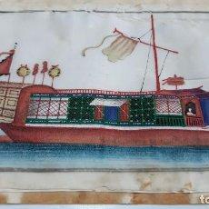 Arte: DIBUJO IMAGEN DE UN BARCO TEMPERA O ACUARELA SOBRE PAPEL DE SEDA O ARROZ CHINA, ASIA SIGLO XIX. Lote 117799507
