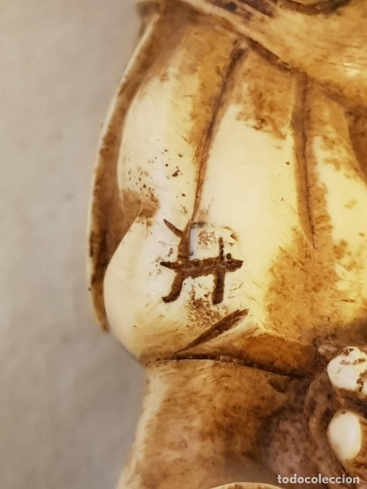 Arte: Guerrero y anciano. Arte chino. Marfilina. Años 60-70 - Foto 4 - 117868439