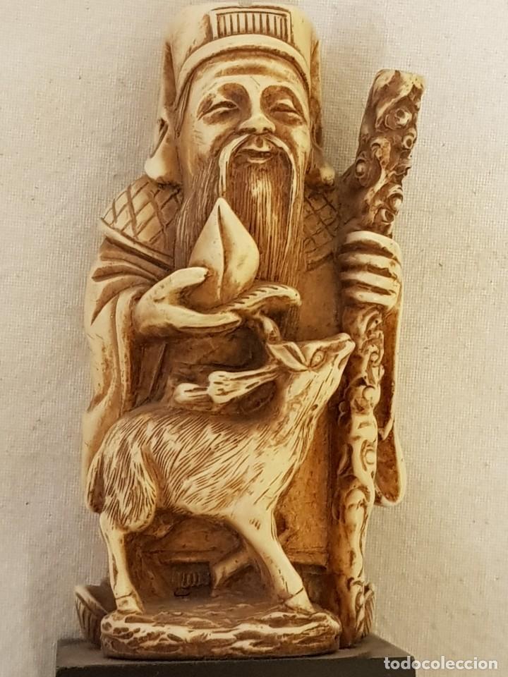 Arte: Guerrero y anciano. Arte chino. Marfilina. Años 60-70 - Foto 6 - 117868439