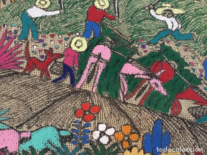 Kunst: tela pintada mano motivos populares campesinos agricultura cosecha mercado guatemala ecuador 86x46cm - Foto 3 - 146470189