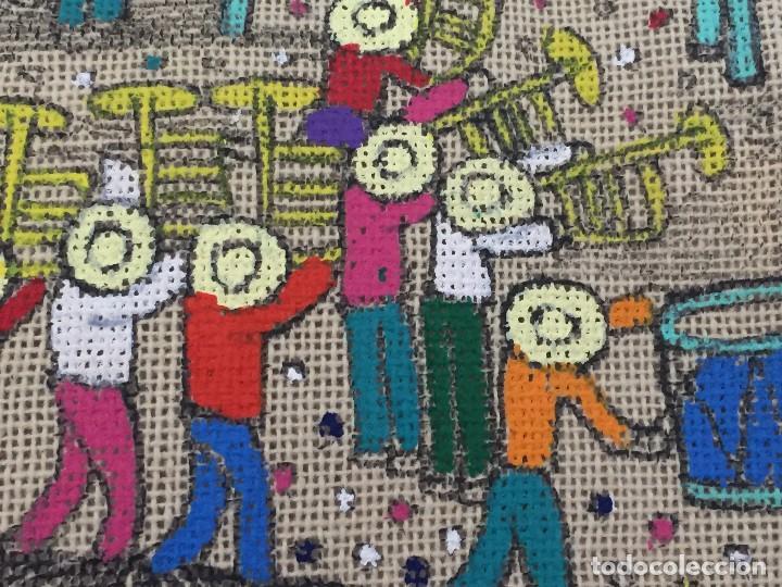 Kunst: tela pintada mano motivos populares campesinos agricultura cosecha mercado guatemala ecuador 86x46cm - Foto 4 - 146470189