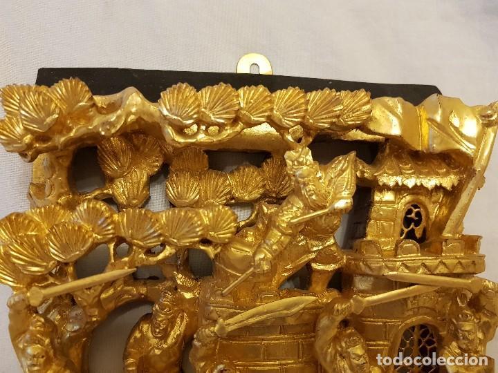 Arte: Panel chino de madera dorada. Siglo XX - Foto 2 - 118108515