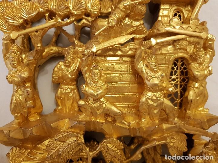 Arte: Panel chino de madera dorada. Siglo XX - Foto 3 - 118108515