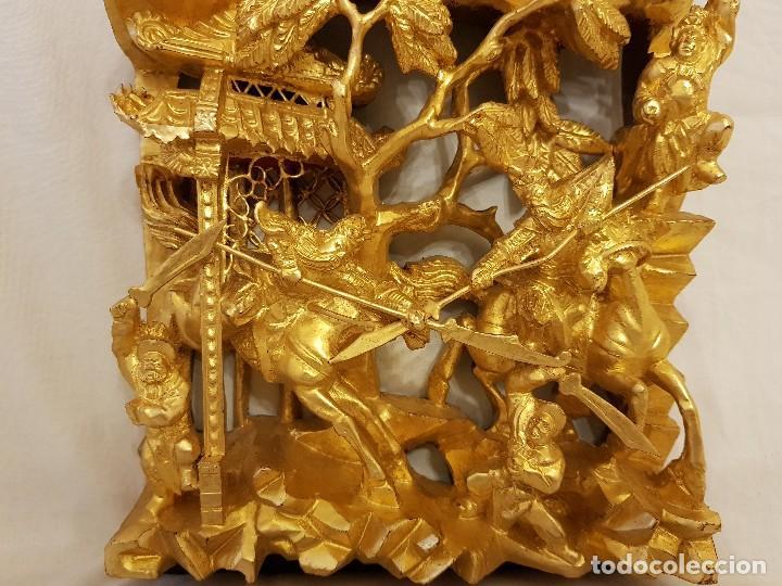 Arte: Panel chino de madera dorada. Siglo XX - Foto 4 - 118108515