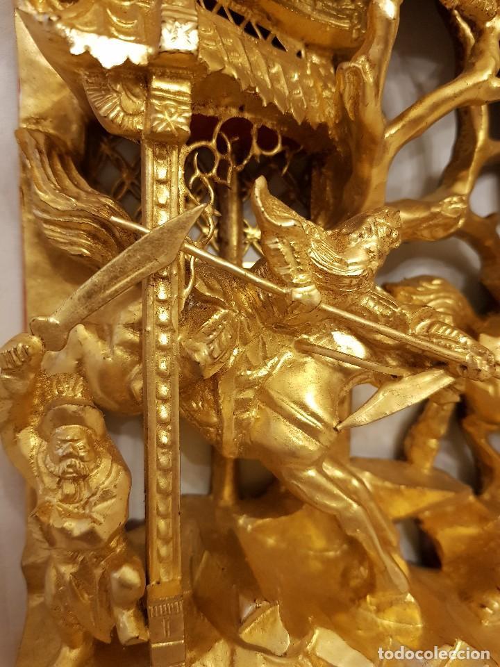 Arte: Panel chino de madera dorada. Siglo XX - Foto 6 - 118108515