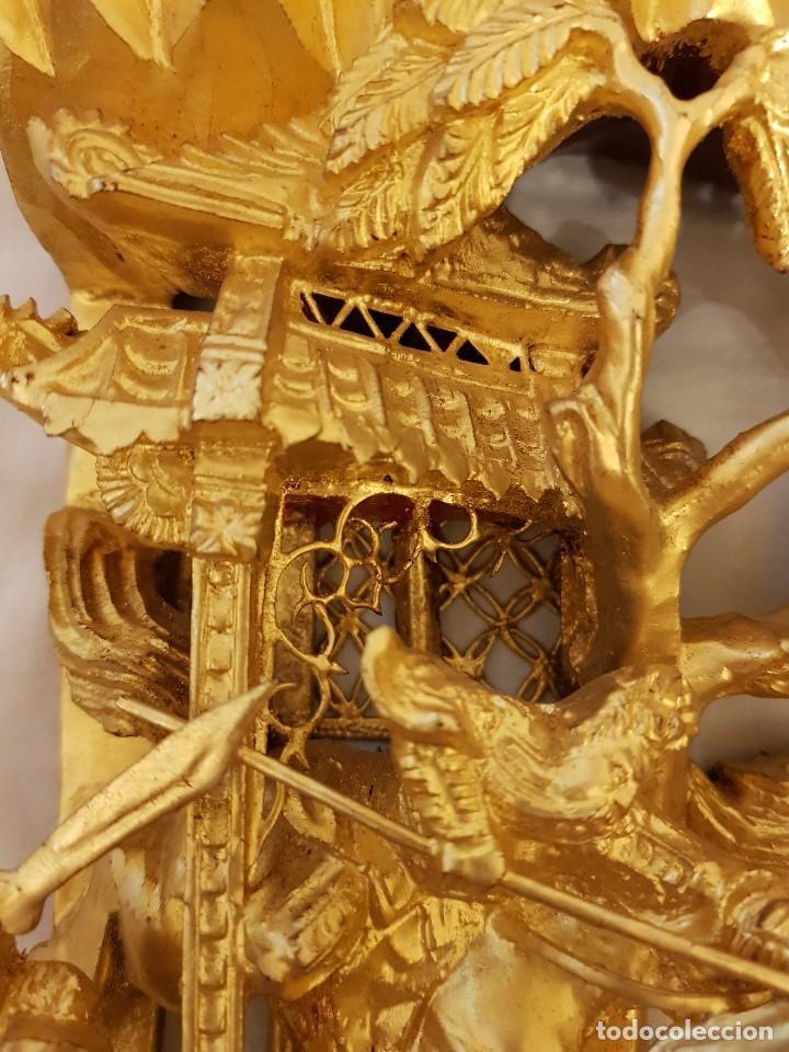 Arte: Panel chino de madera dorada. Siglo XX - Foto 9 - 118108515