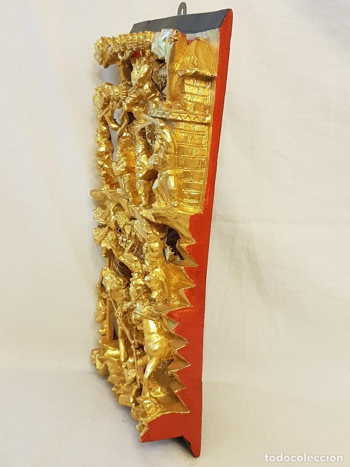 Arte: Panel chino de madera dorada. Siglo XX - Foto 12 - 118108515