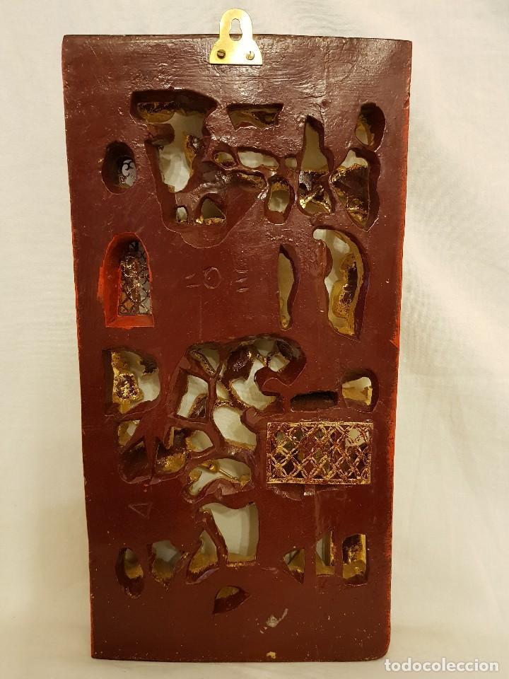 Arte: Panel chino de madera dorada. Siglo XX - Foto 13 - 118108515