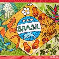 Arte: CUADRO ARTESANÍA BRASILEÑA, TAMAÑO 30X45CM. FIRMADA A. BLONDIN. Lote 118231931