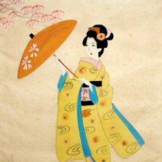 Arte: BONITO GOUACHE DE MANUFACTURA JAPONESA REPRESENTANDO UNA GEISHA. AÑOS 50. Lote 118443999