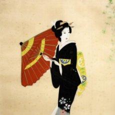 Arte: BONITO GOUACHE DE MANUFACTURA JAPONESA REPRESENTANDO UNA GEISHA. AÑOS 50. Lote 118444347