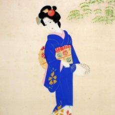 Arte: BONITO GOUACHE DE MANUFACTURA JAPONESA REPRESENTANDO UNA GEISHA. AÑOS 50. Lote 118444499