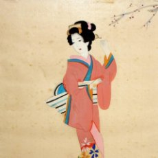 Arte: BONITO GOUACHE DE MANUFACTURA JAPONESA REPRESENTANDO UNA GEISHA. AÑOS 50. Lote 118444835