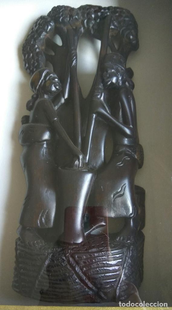 Arte: TALLA DE EBANO EN CUADRO-CAJA CON CRISTAL - Foto 5 - 118716779