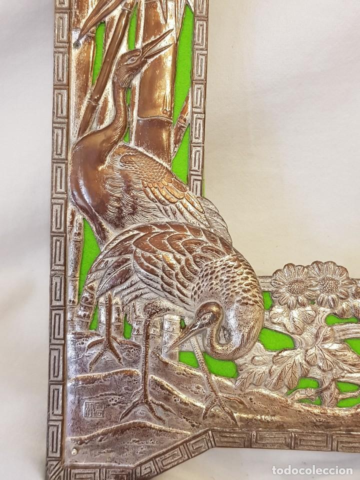 Arte: Marco chino antiguo de cobre plateado. Escultura de conchas talladas a mano - Foto 4 - 119580167
