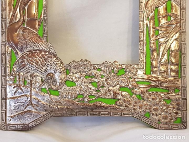 Arte: Marco chino antiguo de cobre plateado. Escultura de conchas talladas a mano - Foto 5 - 119580167