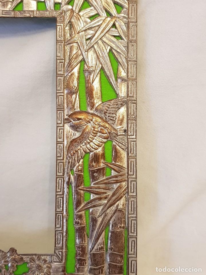 Arte: Marco chino antiguo de cobre plateado. Escultura de conchas talladas a mano - Foto 6 - 119580167