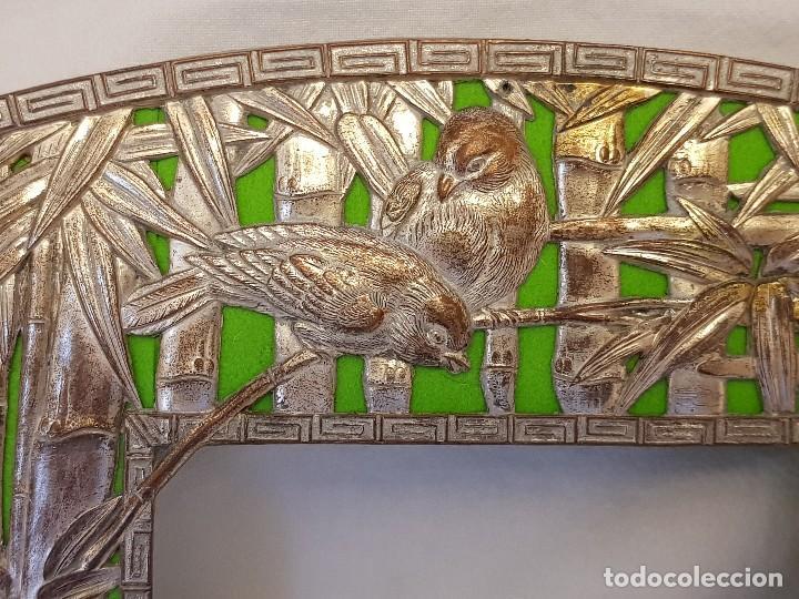 Arte: Marco chino antiguo de cobre plateado. Escultura de conchas talladas a mano - Foto 7 - 119580167
