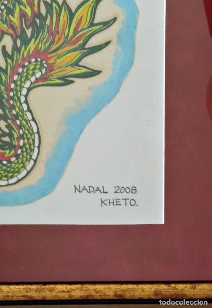 Arte: Kheto Lualuali. Collage : Danza de Dragones. Firmado y fechado por el artista - Foto 2 - 119585543