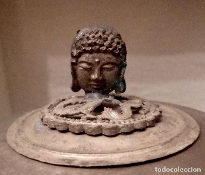 Arte: INCENSARIO CHINO EN JADE Y PLATA TIBETANA CON PANTERAS Y BUDA - 233 GRAMOS. - Foto 2 - 204988655