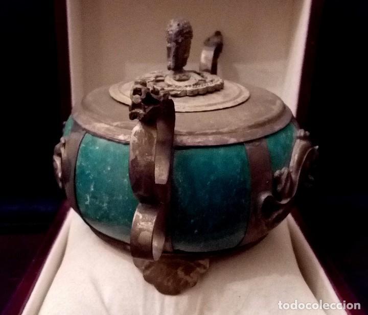 Arte: INCENSARIO CHINO EN JADE Y PLATA TIBETANA CON PANTERAS Y BUDA - 233 GRAMOS. - Foto 4 - 204988655