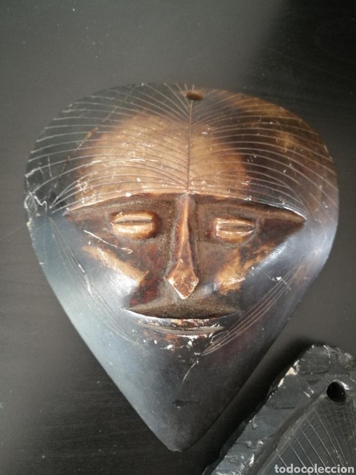 Arte: Lote 5 PIEZAS ARTE AMERICA , 4 mascaras talladas en piedra y figura en terracota o similar . - Foto 5 - 121372143