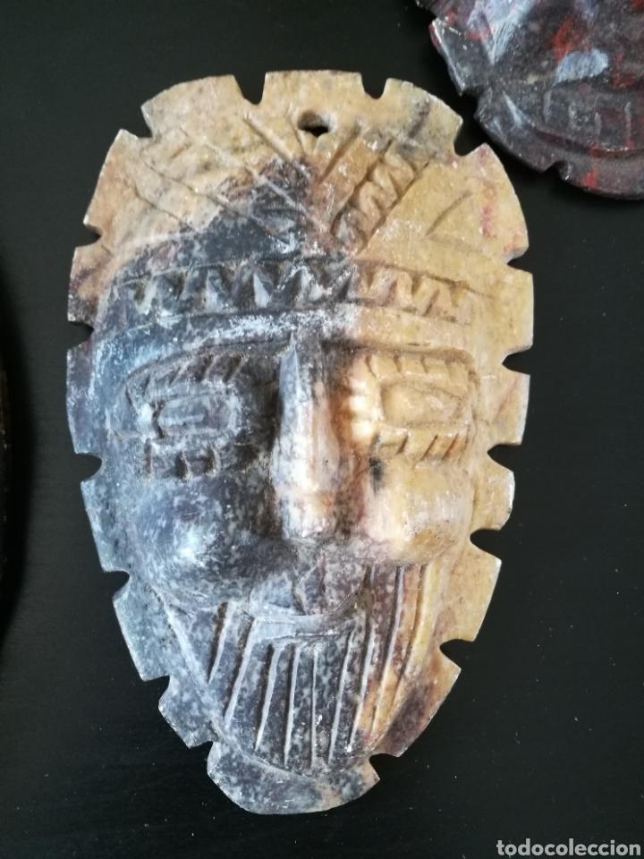 Arte: Lote 5 PIEZAS ARTE AMERICA , 4 mascaras talladas en piedra y figura en terracota o similar . - Foto 6 - 121372143