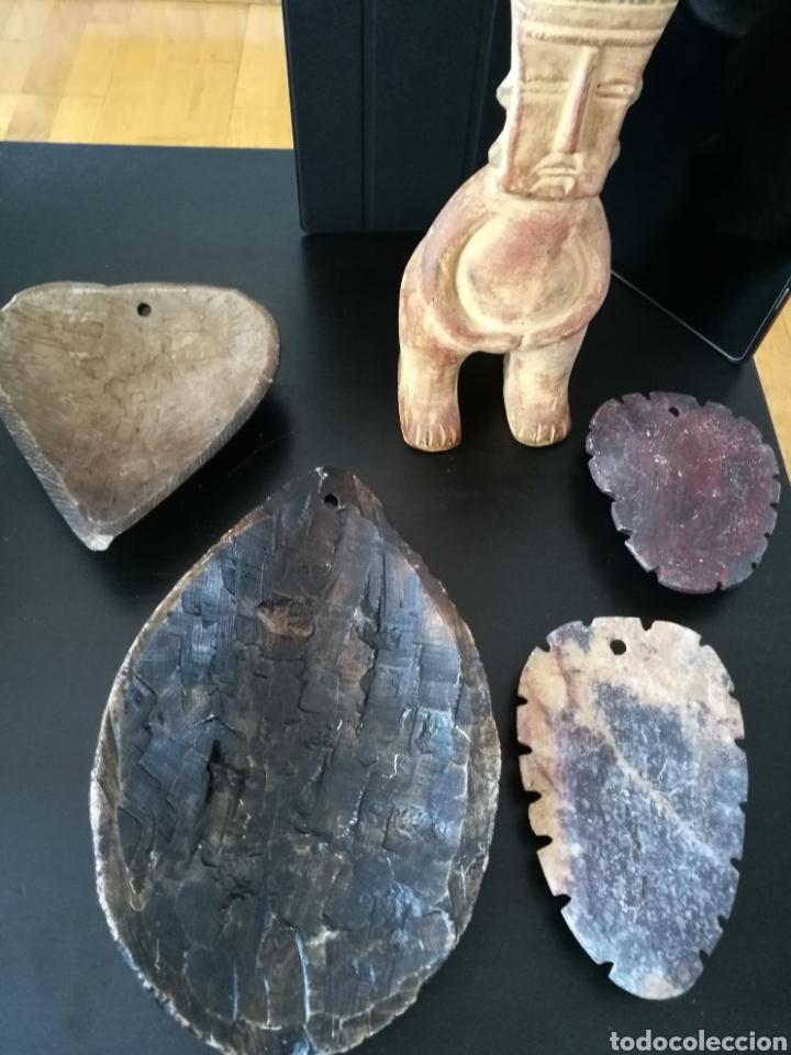 Arte: Lote 5 PIEZAS ARTE AMERICA , 4 mascaras talladas en piedra y figura en terracota o similar . - Foto 8 - 121372143
