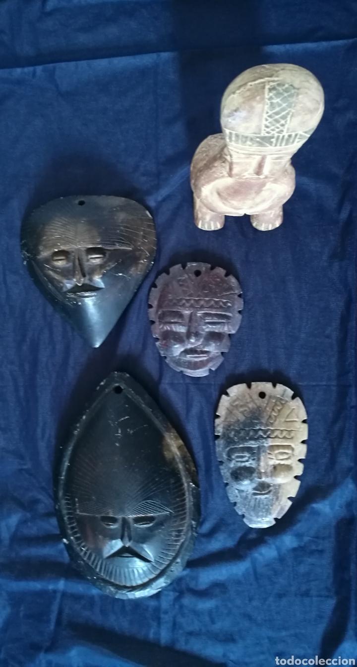 Arte: Lote 5 PIEZAS ARTE AMERICA , 4 mascaras talladas en piedra y figura en terracota o similar . - Foto 13 - 121372143