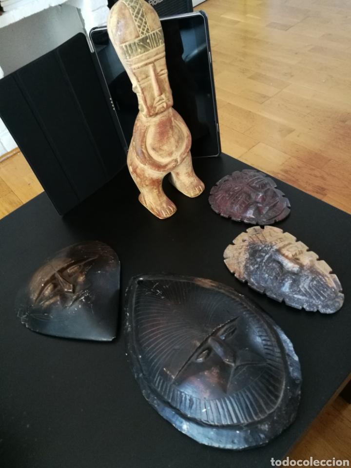 Arte: Lote 5 PIEZAS ARTE AMERICA , 4 mascaras talladas en piedra y figura en terracota o similar . - Foto 14 - 121372143