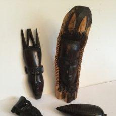 Arte: LOTE DE 4 TALLAS . AFRICA.. Lote 121956595