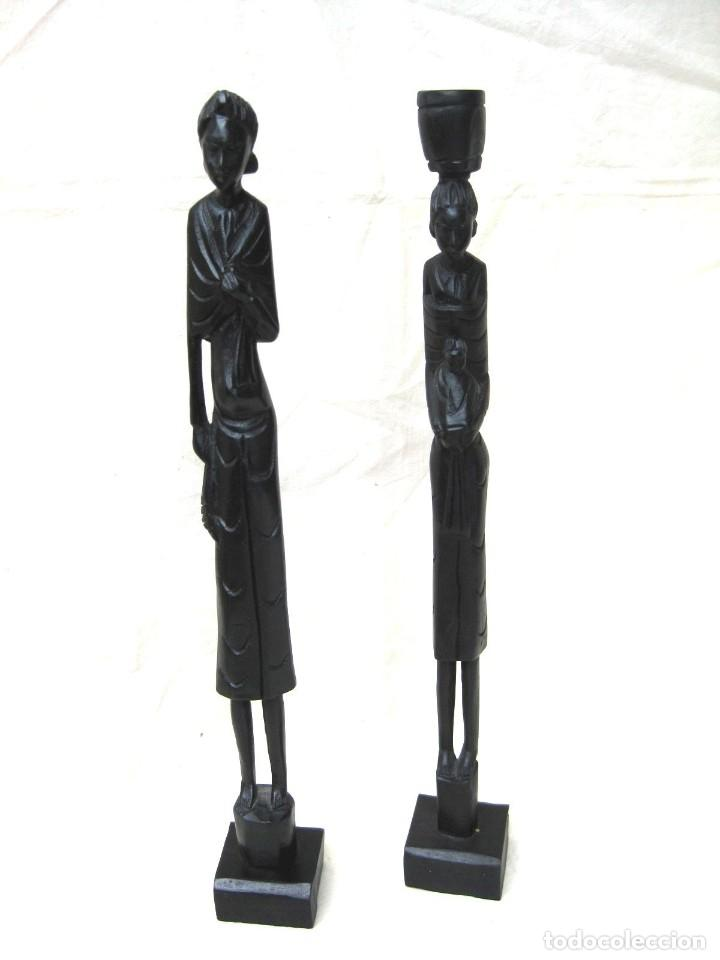 FIGURAS ÉBANO MUJERES CON NIÑOS 32 CMS (Arte - Étnico - África)