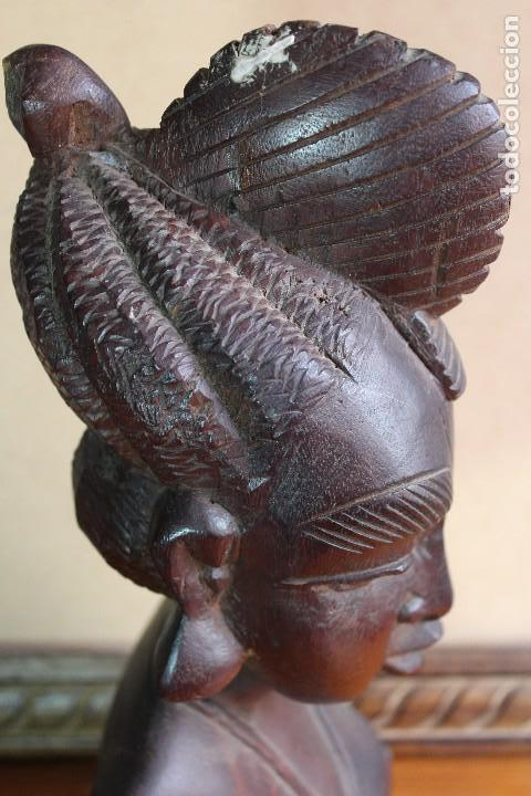 Arte: TALLA BUSTO EN MADERA AFRICANA MUJER, SENEGAL 34 cm AFRICAN WOOD CARVING - Bust Portrait of a Woman - Foto 6 - 123330167