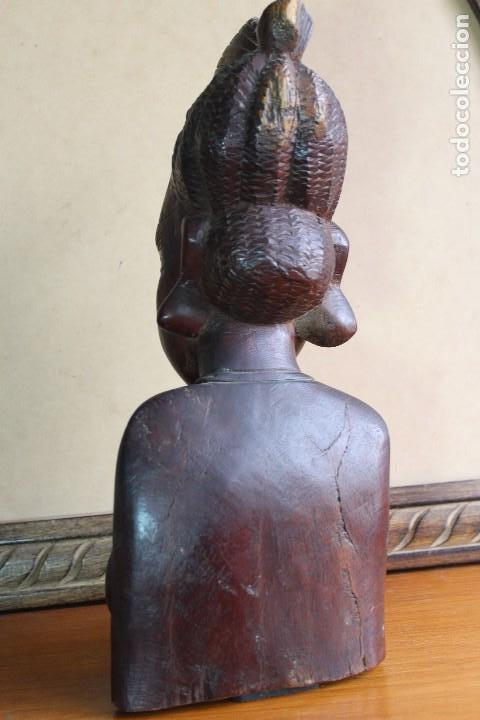 Arte: TALLA BUSTO EN MADERA AFRICANA MUJER, SENEGAL 34 cm AFRICAN WOOD CARVING - Bust Portrait of a Woman - Foto 8 - 123330167