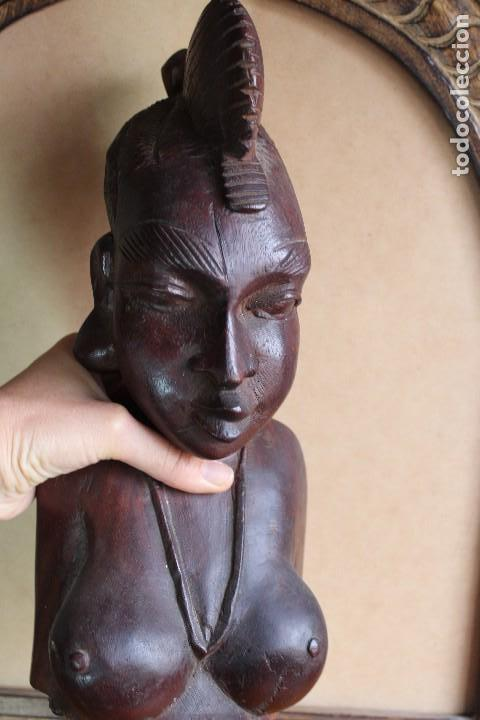 Arte: TALLA BUSTO EN MADERA AFRICANA MUJER, SENEGAL 34 cm AFRICAN WOOD CARVING - Bust Portrait of a Woman - Foto 11 - 123330167