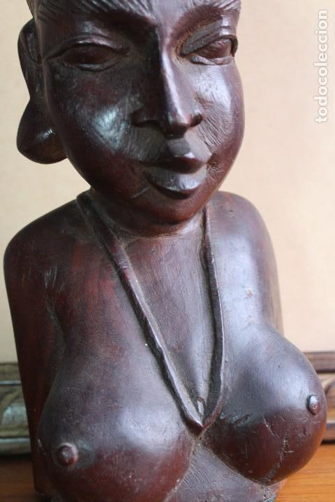 Arte: TALLA BUSTO EN MADERA AFRICANA MUJER, SENEGAL 34 cm AFRICAN WOOD CARVING - Bust Portrait of a Woman - Foto 13 - 123330167
